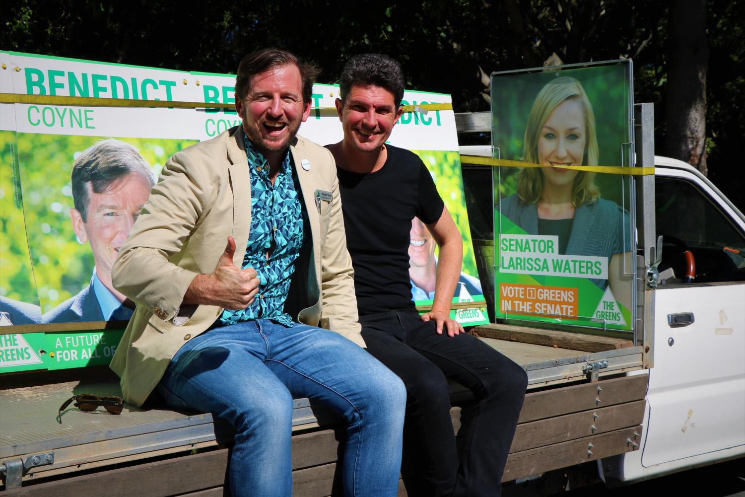 You're a pal and a confidant: Benedict Coyne with Scott Ludlam at a community picnic in Murrumba Downs
