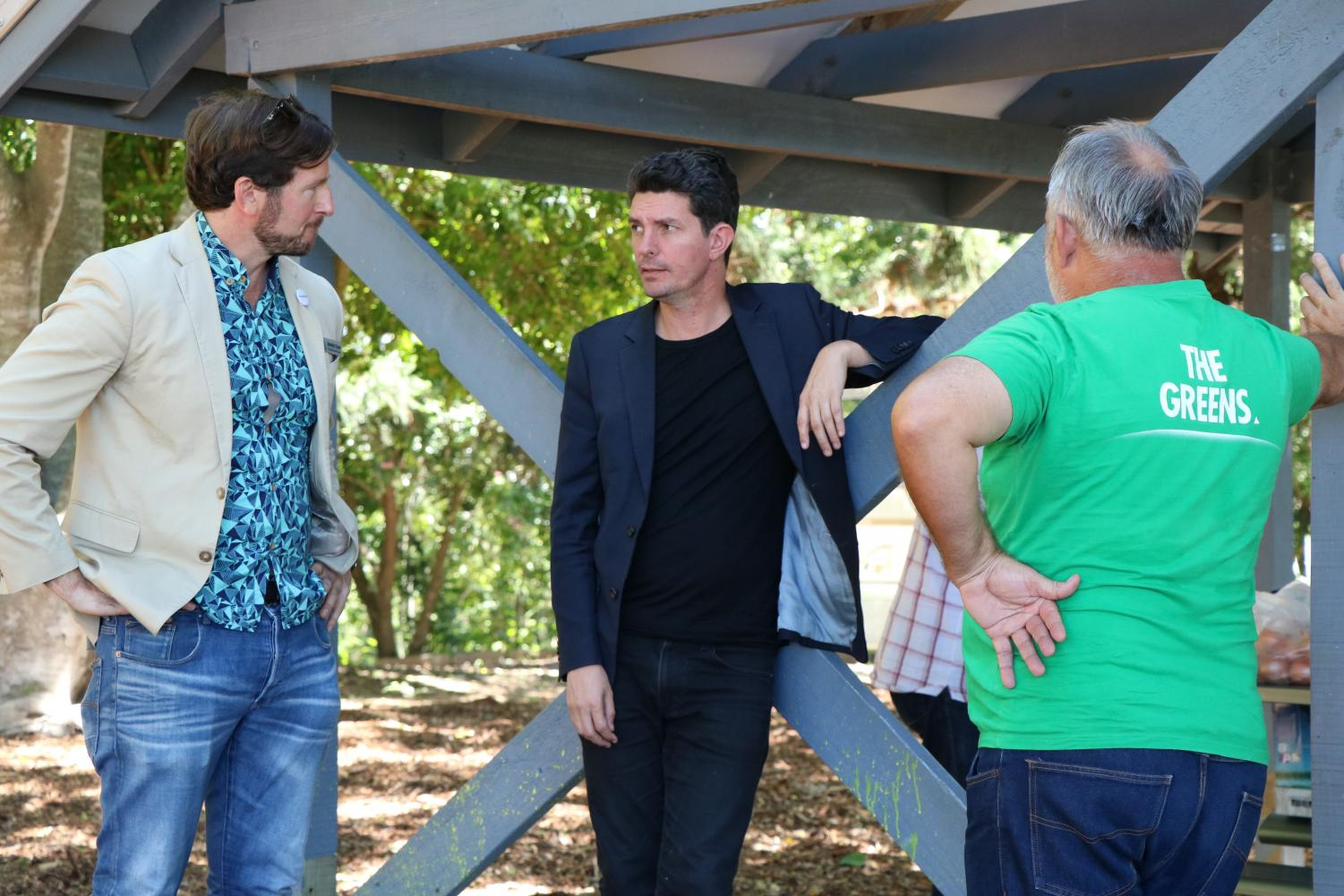 Benedict Coyne and Scott Ludlam at a community picnic for The Greens in Dickson