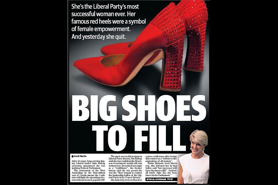 The West Australian's cover on Feb 22, when Bishop announced that she would not stand again.