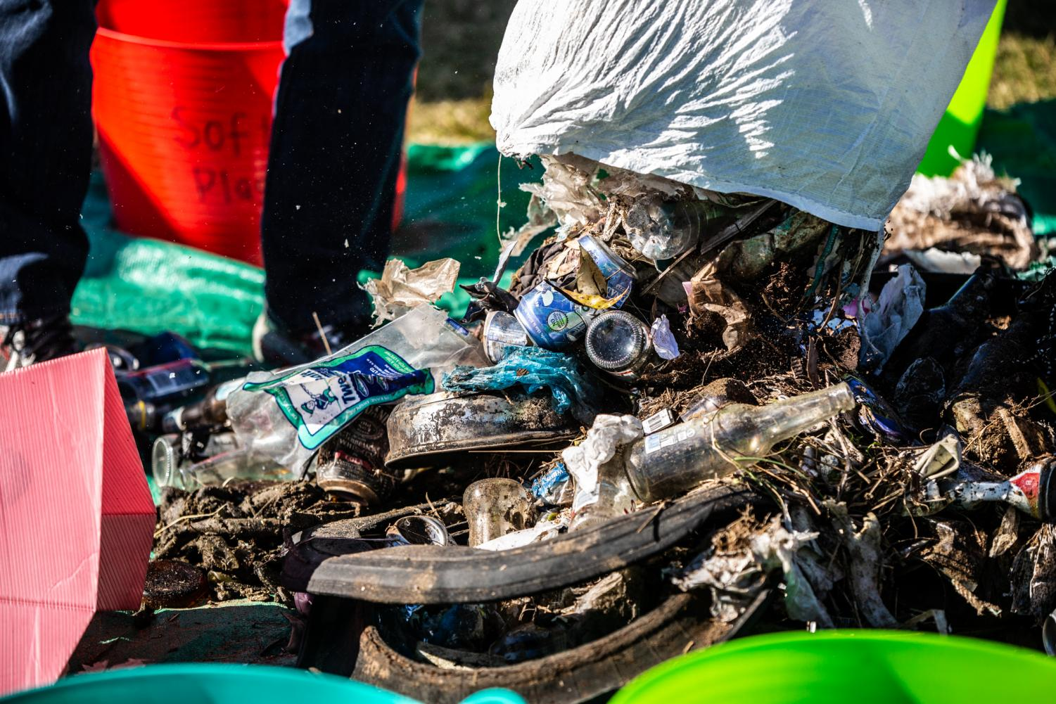 Plastic, glass, aluminium cans and other waste collected at Nudgee Beach in Brisbane during the Sea Shepherd clean-up
