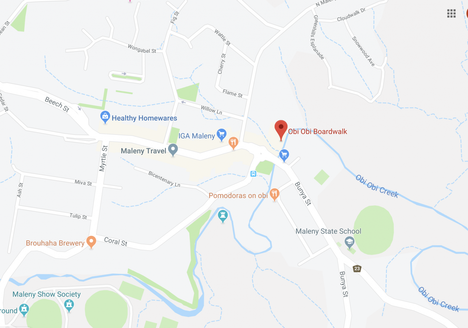 A street map of the Maleny area showing where the Obi Obi Boardwalk is located